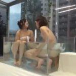 マジックミラー号で男友達と混浴させセクロスまでさせちゃう素人企画動画!