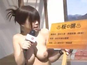 タオル入浴禁止で撮影の為の許可とってなくて全裸温泉リポートがまさかの混浴で一般客に輪姦乱交w